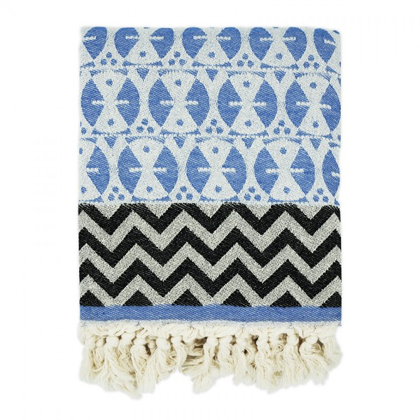 hamam towel . ADINKRA . blue