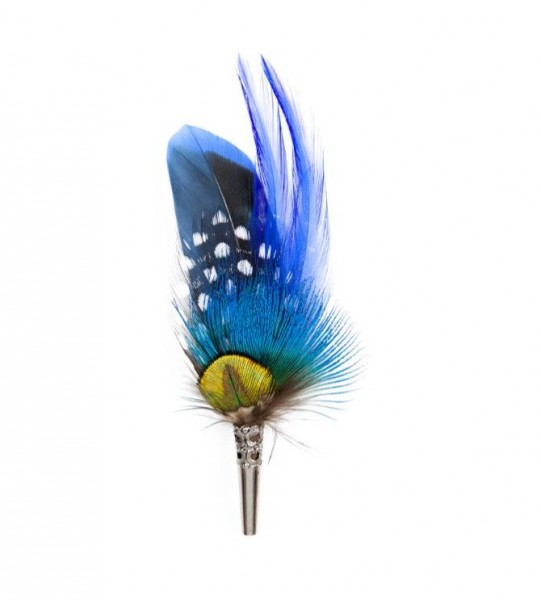 feather brooch . PENCIL . royal blue