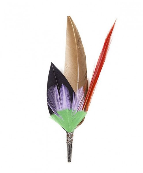 feather brooch . PENCIL . purple, red
