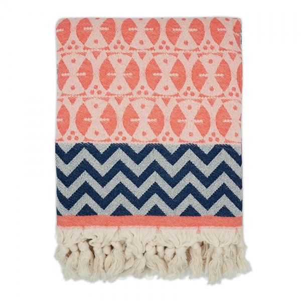 hamam towel . ADINKRA . coral